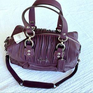 NWT Coach Ashley satchel plum leather F19452